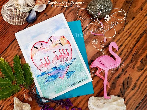 Flamingo Flock of Love Card & Flamingo S