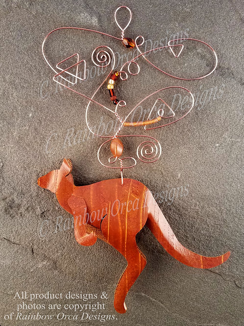 Kangaroo Ornament Sculpture - Copper Brown