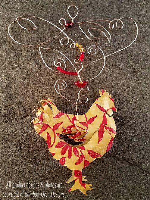 Chicken Ornament Sculpture -Soft Yellow with Red Floral