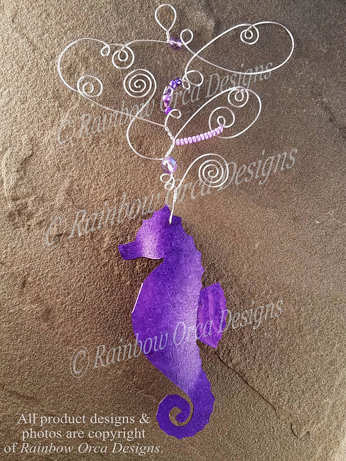 Seahorse Ornament Sculpture - Purple