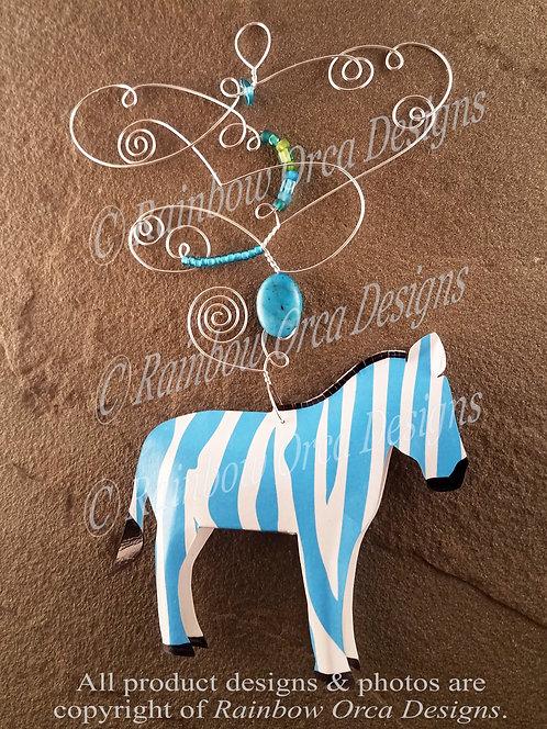 Zebra Ornament Sculpture - Light Blue