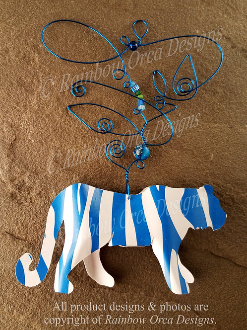 Tiger Ornament Sculpture - Blue/White with Blue Wire