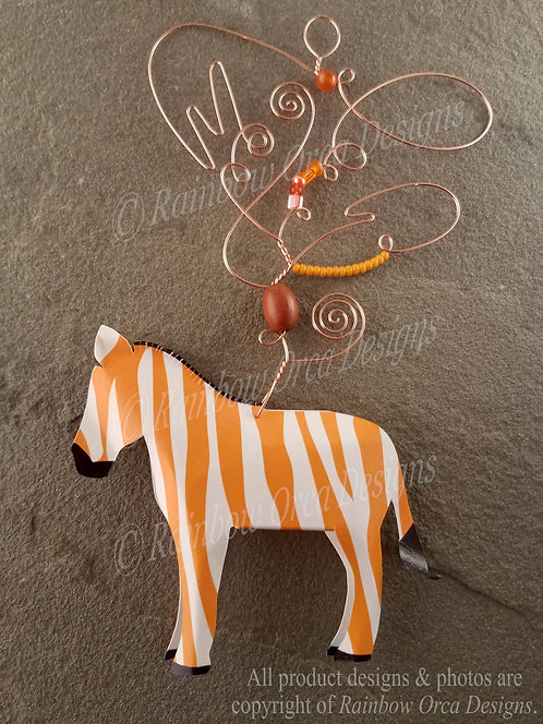 Zebra Ornament Sculpture - Orange