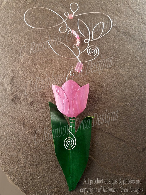 Tulip Ornament Sculpture - Pink with Silver Wire