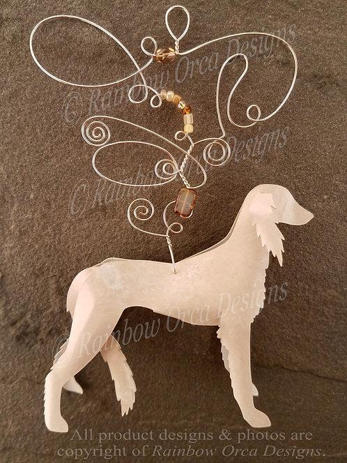 Dog: Saluki Ornament Sculpture - Cream/Fawn