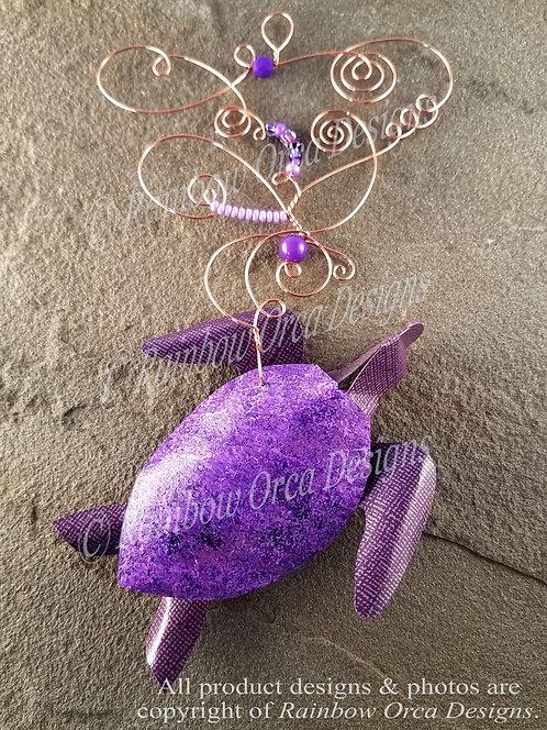 Sea Turtle Ornament Sculpture - Purple