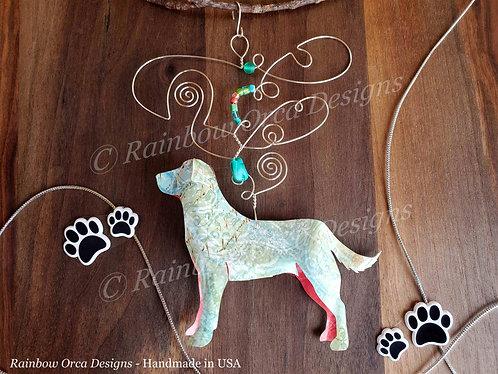 Dog: Lab Ornament Sculpture - Soft Blue Collage