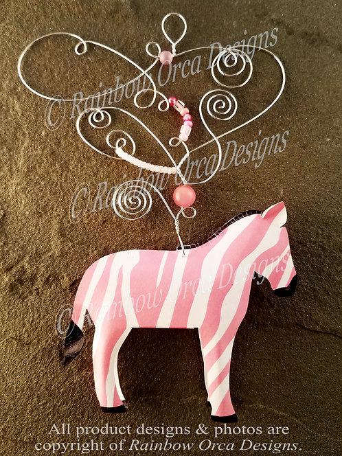 Zebra Ornament Sculpture - Light Pink
