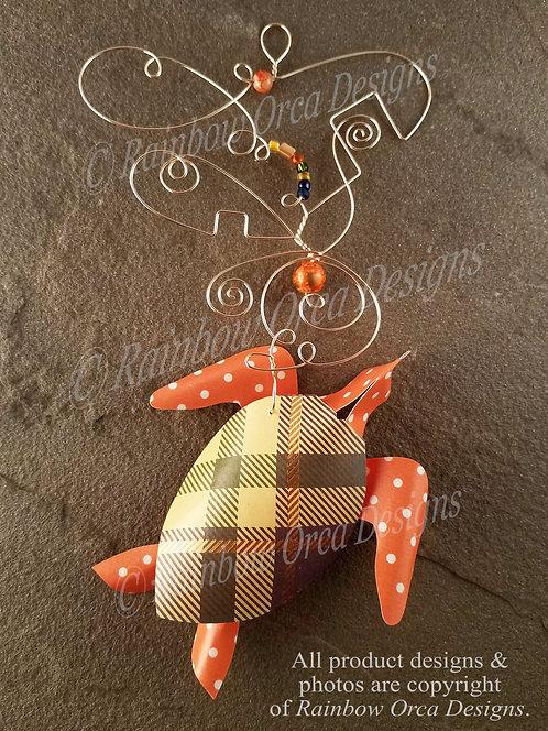 Sea Turtle Ornament Sculpture - Plaid & Polka Dot