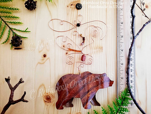 Bear Ornament Sculpture - Hand-Painted Brown