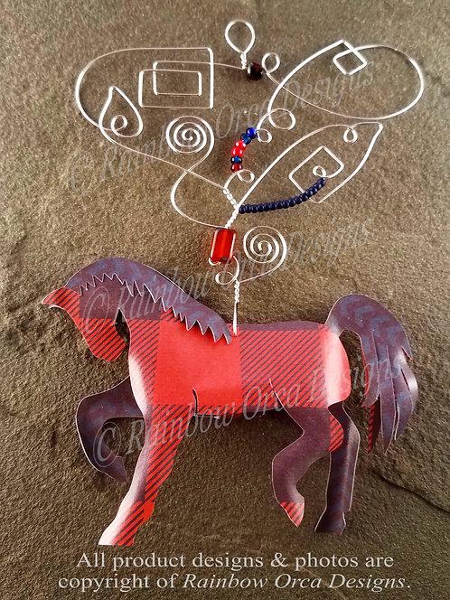 Horse Ornament Sculpture - Red & Blue Plaid