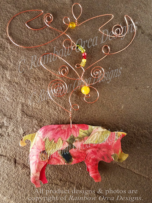 Pig Ornament Sculpture - Red Floral