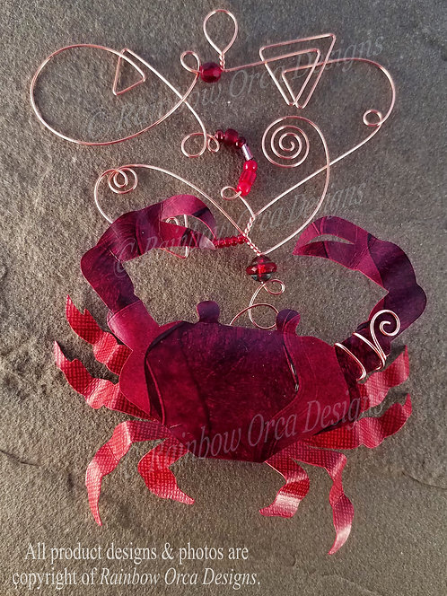 Dungeness Crab Ornament Sculpture - Deep Red w/Copper