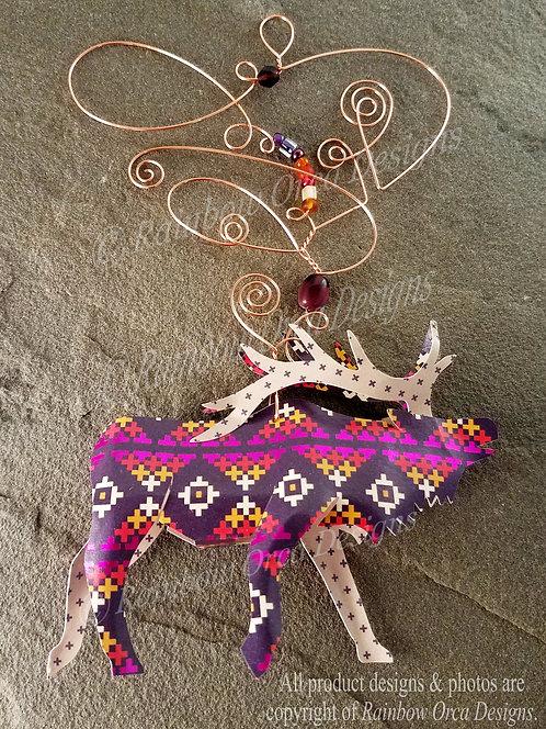 Elk Ornament Sculpture - Colorful Southwest Print