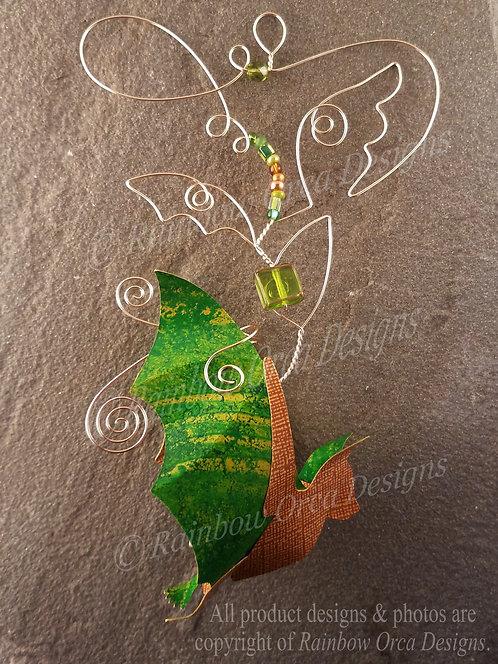 Bat Ornament Sculpture - Green & Brown