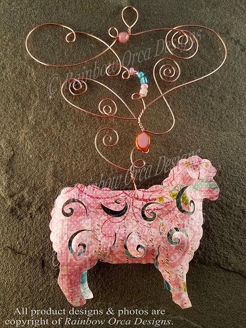 Sheep Ornament Sculpture - Soft Pink Vintage