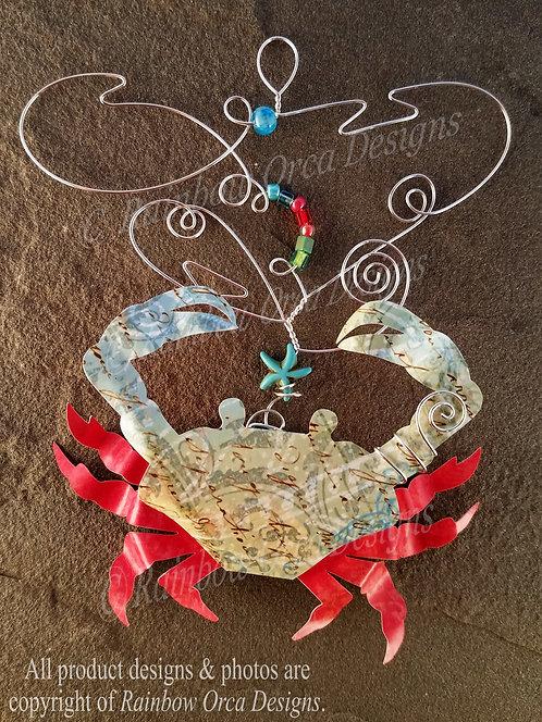 Dungeness Crab Ornament Sculpture - Vintage Blue/Coral