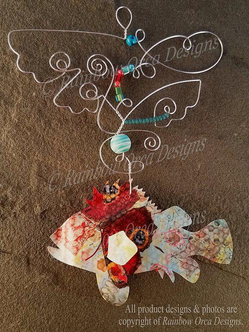 Rockfish Ornament Sculpture - Soft Collage Print