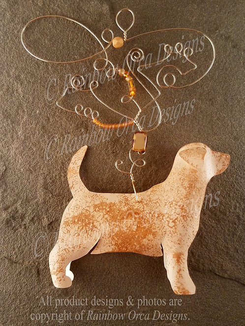 Dog: Lab/Beagle Mix Ornament Sculpture - Light Brown
