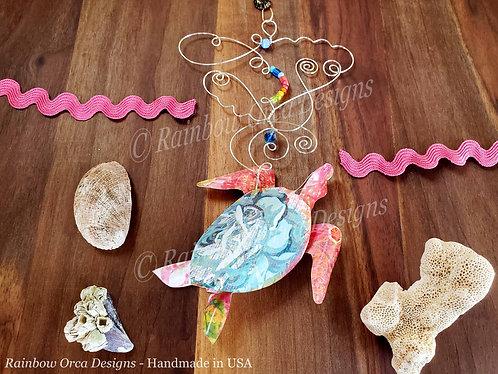 Sea Turtle Ornament Sculpture - Colorful Happy Collage