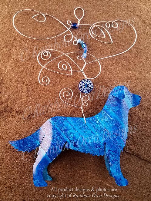 Dog: Golden Retriever Ornament Sculpture - Blue Cobalt