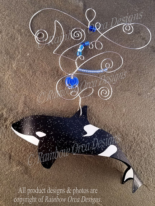Orca Female Ornament Sculpture - Blue Beads Silver Wire