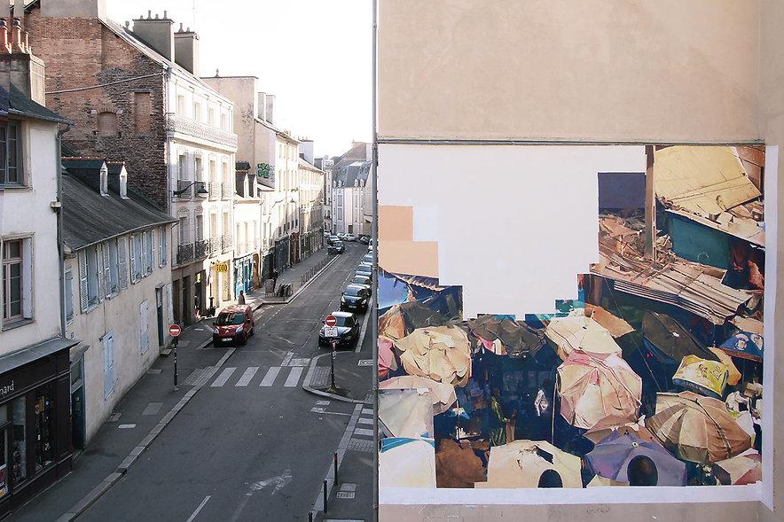 artist zoer zoerism fresque mural peinture acrylique realiste marche au mali les essences les plus cheres renne france 2015