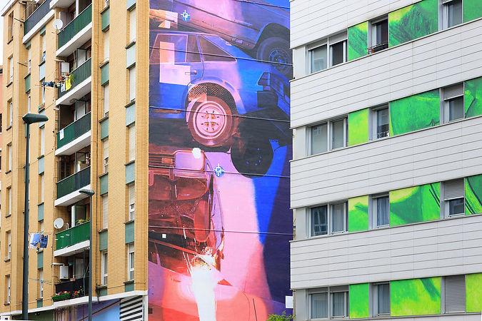 artiste zoer zoerism fresque mural de peinture acrylique spindle tribute urban art bilbao espagne 2016