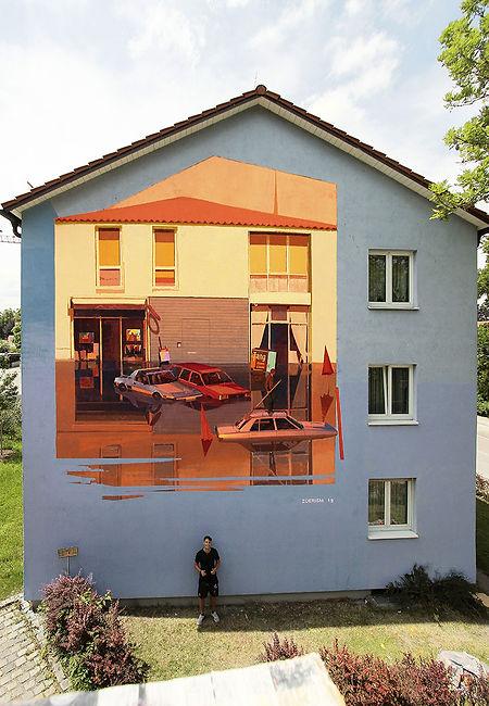 artiste zoer zoerism peinture acrylique de maisons et voitures inondées avec reflet titre aqua alta erding allemagne 2019