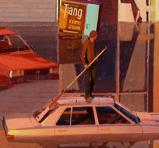 artiste zoer zoerism detail peinture acrylique de voitures bmw inondée et homme avec pagaie titre aqua alta allemagne 2019