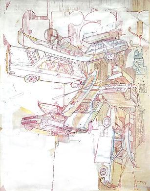 Artiste zoer zoerism dessin preparatoire de fresque murale un temps suspendu avec des voitures en volume rabat maroc 2018