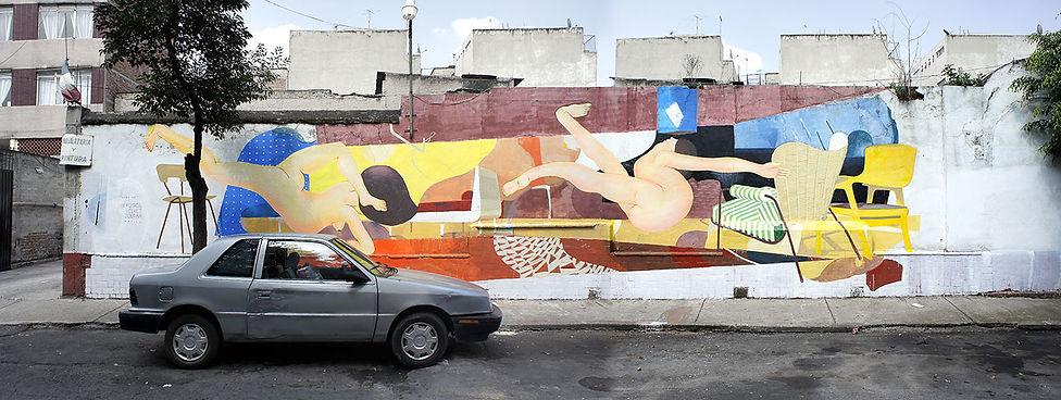 artiste zoer zoerism fresque mural urban art che moi en collaboration avec fusce acrylique sur beton mexico 2017