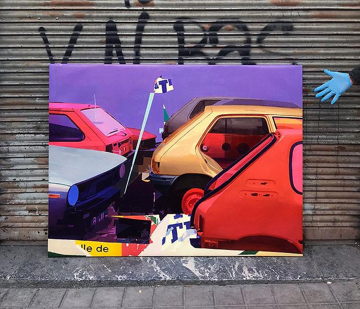 Artiste zoer zoerism peinture a l huile sur toile sacre numero de voitures exposition la forme SC gallery bilbao Espagne 2018