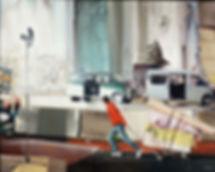 artiste zoer zoerism peinture figurative un garçon carrière avec camionnette exposition perpetuum mobile paris france 2014