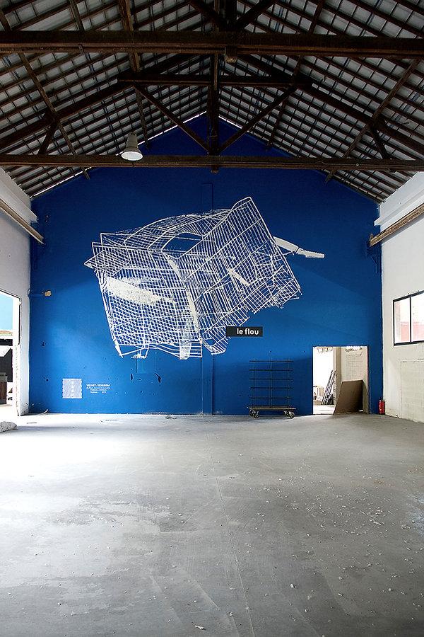 Artist zoer zoerism fresque mural peinture acrylique une cage le flou exposé à l exposition le flou toulouse france 2014