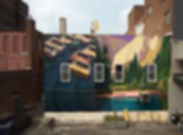 Mural de artiste zoer zoerism voitures nascar vintage et un paysage montagneux avec lac national landscape jackson usa 2019