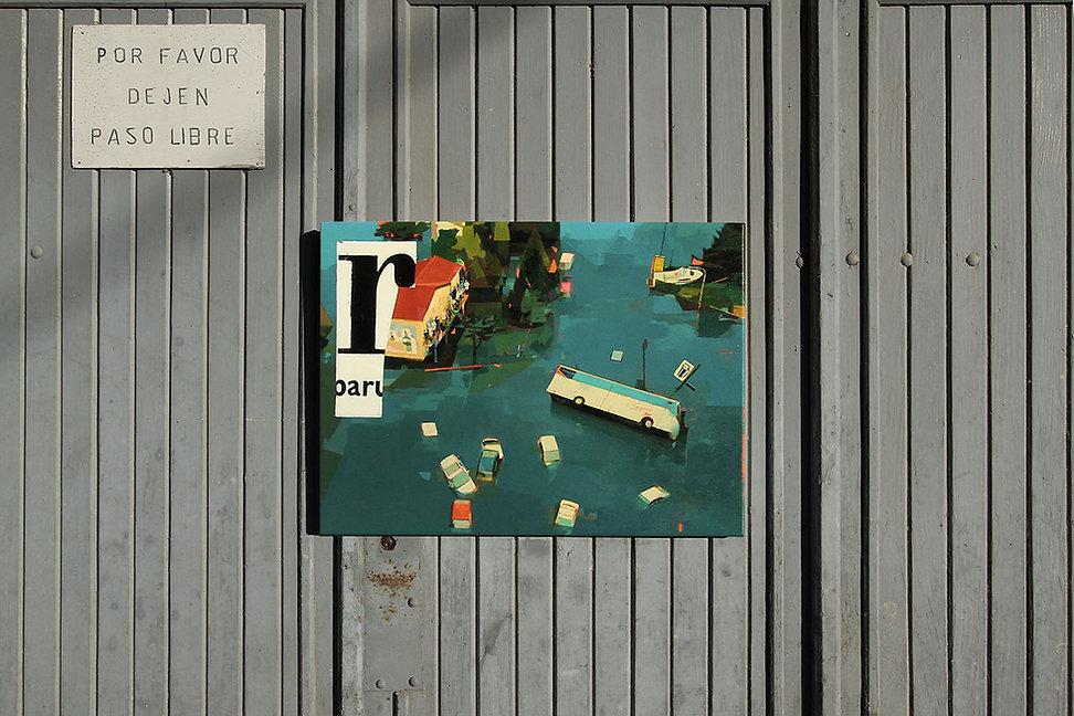 Artiste zoer zoerism peinture acrylique sur toile dis d une inondation avec voitures submergees dans l eau art contemporain