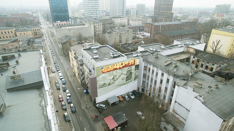 artiste zoer zoerism vue aérienne fresque mural urban art carrousel acrylique sur beton lodz pologne 2015