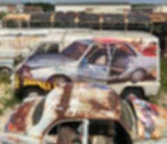 Artiste zoer zoerism acrylique sur renault master truck figurative de R18 souvenir enfance France 2018