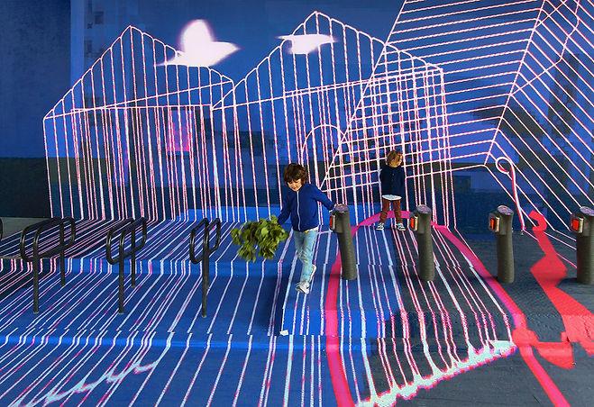 artiste zoer zoerism installation artistique espace public anamorphose cage detail commande instagram we love art paris 2017