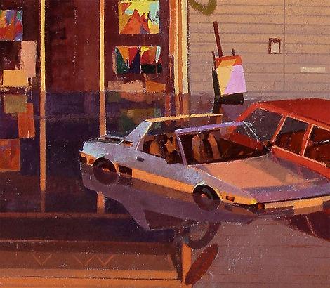 artiste zoer zoerism detail peinture acrylique de voitures fiat galeries d'art inondée reflet titre aqua alta allemagne 2019