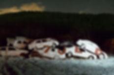 artiste zoer zoerism installation picturale in situ art contemporain de voitures immergees dans peinture blanche