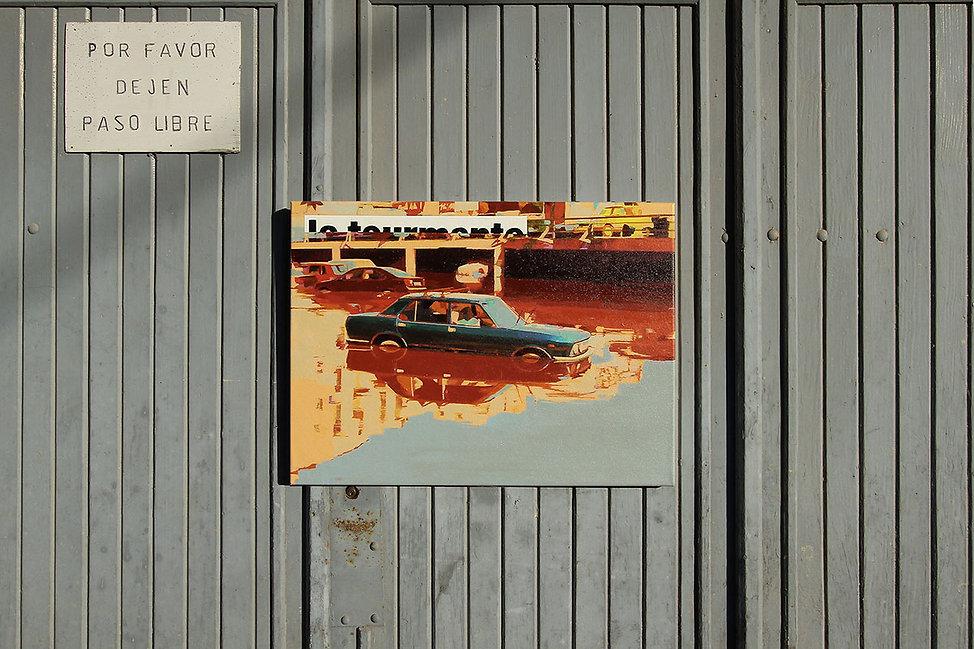 Artiste zoer zoerism peinture acrylique sur toile du reflet d'une voiture dans l eau art contemporain