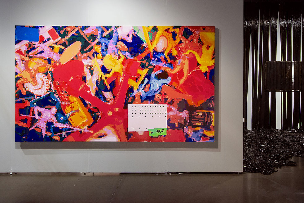 artist zoer zoerism huile sur toile figurative pixel indians scattered exposee seattle art fair curator takashi murakami 2016