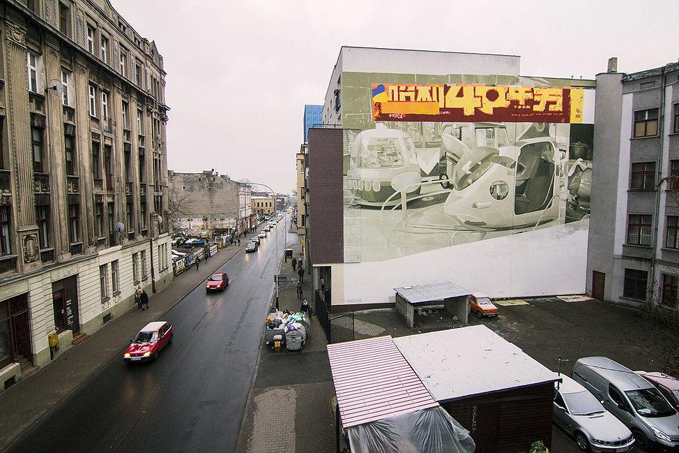 artiste zoer zoerism fresque mural urban art carrousel acrylique sur beton lodz pologne 2015