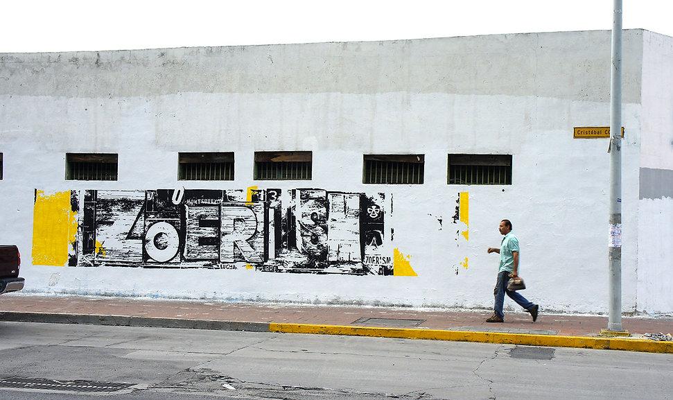 artiste zoer zoerism fresque mural urban art typography zoerism absence monterey museum arts mexico 2013