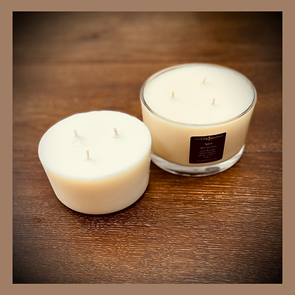 3 Wick Glass Candle Refill