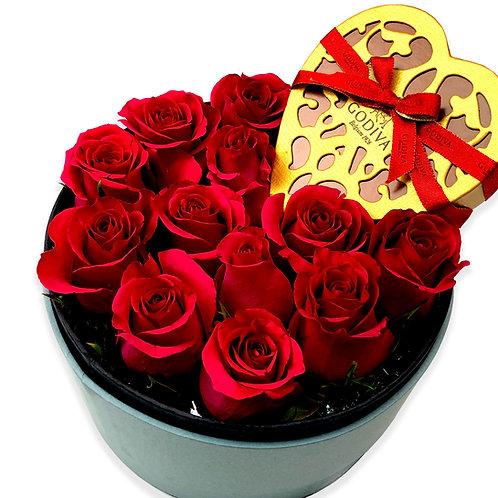 甜蜜最愛情人節盒裝玫瑰花 Sweet favorite valentine's day box flower