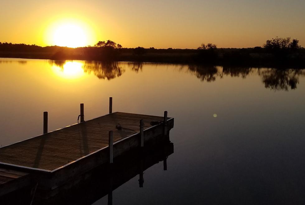 Sunset on pentalago with dock