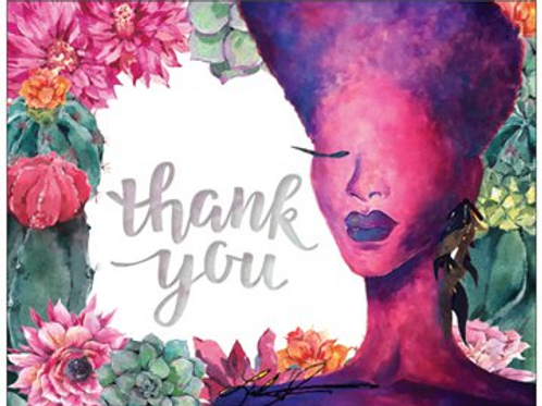 Violet Succulant Thank You Cards
